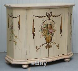 1 Of 2 Hand Painted French Floral Scene Serpentine Fronted Sideboards Cupboards