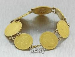 1880s Antique Victorian French Francs Napoleon III Gold Coin Gypsy Bracelet J8