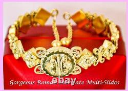 1880s RARE Antique Victorian FRENCH 14k SOLID ROSE YELLOW GOLD BRACELET SIGNED