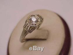 18K White Gold Antique Victorian Old Cut French Paste Stone Ring from 1800s