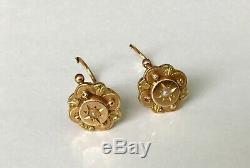 18k gold French antique Victorian Edwardian earrings seed peals