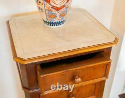 19C French Walnut Bedside Cabinet Stand Marble Top Chest of Drawers Antique
