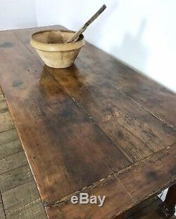 19th Century Antique French Cherrywood Refectory Kitchen Dining Table