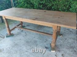 19th Century Farmhouse Refectory Oak Dining Table & 6 Chairs