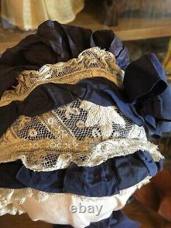 19th century Antique child OR Bebe Jumeau bonnet ORIGINAL ribbons French market