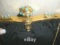 $2k Rare French Antique Real Turquise Stone Jeweled 14k Gp Victorian Evening Bag
