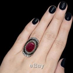 30m ANTIQUE NATURAL RUBY 2.35c FRENCH CUT DIAMOND RING VICTORIAN VINTAGE BLACK