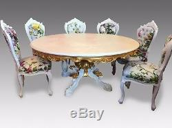 5.6ft Grand Circular French Louis XVI style dining table including a glass top