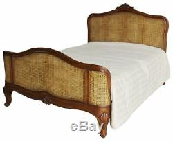 5' King Size Antique Wax Mahogany & Rattan French Colonial Style Bed with Slats