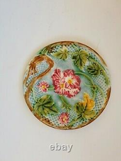 6 set French Antique Majolica plate Salins 1880