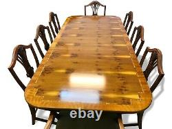 7.3ft Amazing Art Deco style Burr Yew tree dining table Pro French polished