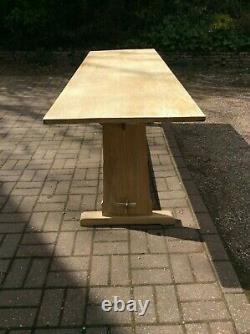 7ft 5 Bleached Oak Trestle End Farmhouse Refectory Dining Table C1920 Kitchen