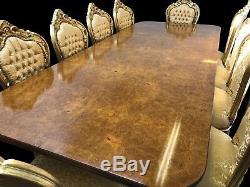 8.6ft BEAUTIFUL BURR WALNUT REGENCY STYLE DINING TABLE SET, PRO FRENCH POLISHED