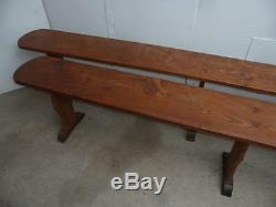 A Really Rare Pair of Victorian French Elm 6 Seater Table Benches