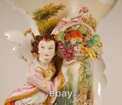 A pair 16 French Victorian Old Paris Porcelain Vases Jacob Petit Locre Halley