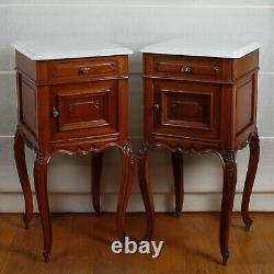 A pair French Victorian Nightstands bed end tables mahogany marble top 19th c