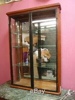 ANTIQUE 1920's ART DECO COUNTER TOP GLAZED OAK DISPLAY CABINET 3 GLASS SHELVES
