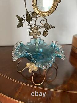 ANTIQUE BRONZE POCKET WATCH STAND HOLDER victorian art glass/French