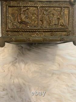 ANTIQUE EARLY 20th CENTURY GILT BRONZE BRASS JEWELRY CASKET BOX c1910 FRENCH