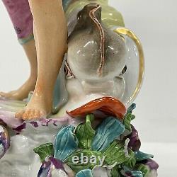 ANTIQUE FRENCH Edme Samson figures pair Porcelain Neptune Europe Derby 32cm