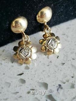 ANTIQUE FRENCH VICTORIAN 14k GOLD DIAMOND DANGLE EARRINGS 1900