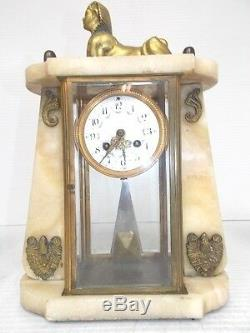 ANTIQUE FRENCH VICTORIAN JAPY FRERESE ALABASTER MANTEL CLOCK With SPHINX