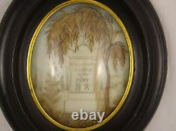 ANTIQUE FRENCH VICTORIAN MOURNING HAIR ART CONVEX GLASS FRAME RELIQUARY 19th