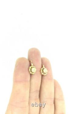 ANTIQUE VICTORIAN EARRINGS SMALL FRENCH DORMEUSE DIVINE GOLD 14CT CIRCA 1900s