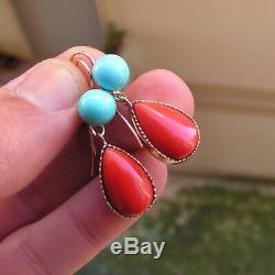 ANTIQUE VICTORIAN FRENCH 18K GOLD RED CORAL 38mm + 12mm FINE EARRINGS Turquoise