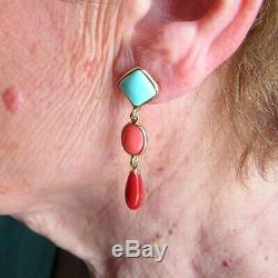 ANTIQUE VICTORIAN FRENCH SILVER GOLD RED CORAL 25m 10mm FINE EARRINGS Turquoise