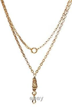 ANTIQUE Victorian French 14k Yellow Gold Eagle Watch Chain Necklace