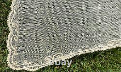 ANTIQUE Victorian Netted French net Lace Bedspread tambour NET needle EMBROIDERY