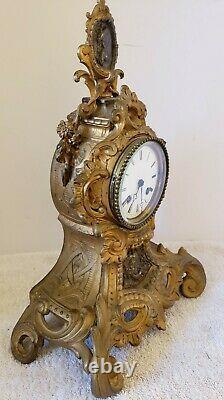 ANTIQUE WORKING 1840's VINCENTI FRENCH VICTORIAN SILK SUSPENSION MANTEL CLOCK