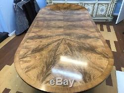 Amazing CMC Designs Art Deco Burr Walnut dining table to be pro French polished