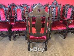 Amazing set 14 beautiful Antique Oak Charles II style chairs French polished