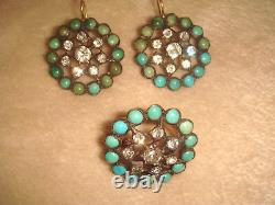 Ant. Victorian 14k Silver & Persian Turquoise French Paste Earrings Ring 6+ Set