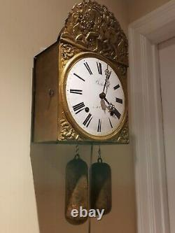 Antique 1870's Bertholat St. Etienne French Morbier Victorian Wag On Wall Clock