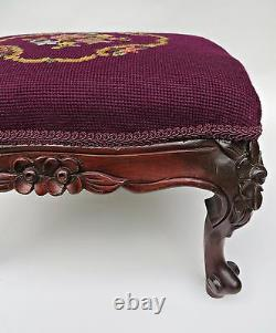 Antique 1870's Victorian French Mahogany Hand Carved Wooden Foot Stool Rest Seat