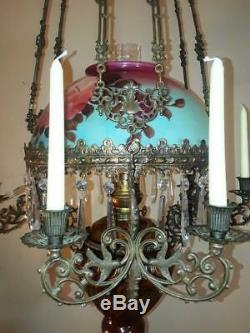 Antique 1880s Magnificent French Victorian Majolica Hanging Oil Chandelier Lamp