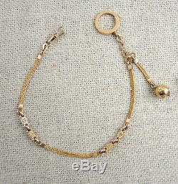 Antique 18k Gold Watch Chain French Owl Mark Tri-Color Albertina Victorian Fob