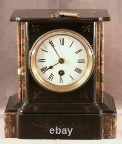 Antique 19th C. French Victorian Black Marble Slate Mantel Shelf Clock Time Only