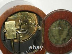 Antique 19th C. French Victorian Mahogany Flower Inlay Balloon Mantel Clock Runs