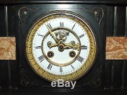 Antique 19th C. Marti French Victorian Marble Mantel Clock with Open Escapement