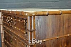 Antique 19th Century French Pine & Faux Bamboo Escritoire Fitted Chest Bureau