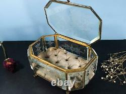 Antique 19th c Eight Sided Ormolu Large Engraved Glass Box French Victorian