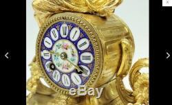 Antique 19thc French Gilt Metal Ormulu & Blue Sevres Porcelain 8Day Mantel Clock