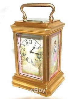 Antique 8 day Miniature French Porcelain Panel Carriage Clock Timepiece WORKING