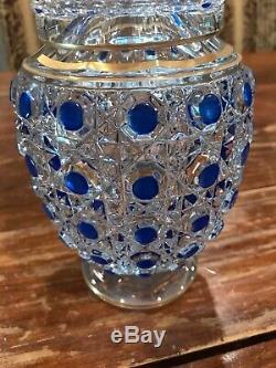 Antique 9.25 BACCARAT Diamants Pierreries Hobnail Blue BEDSIDE CARAFE 1800s