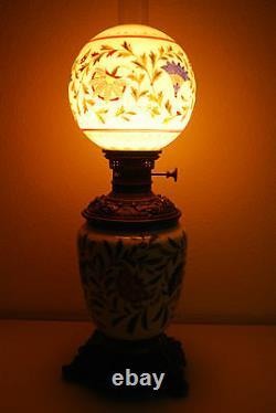 Antique Art Nouveau Victorian French Enamel Vintage Old Oil Kerosene Gwtw Lamp