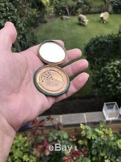 Antique Austrian Or French Guilloche Enamel Solid Silver Box Mirror Compact Case
